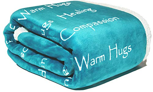 Compassion Blanket - Strength Courage Super Soft Warm Hugs, Get Well Gift Blanket Plush Healing Thoughts Positive Energy Love Hope & Caring for Cancer Patient(50 x 65 Teal)
