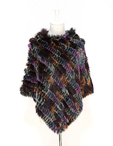 Ferand - Poncho en Fourrure de Lapin Tricoté D'élevage Véritable - Femme - Multicolore violet