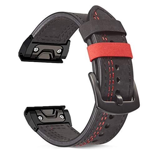 OTOPO Bracelet compatible Fenix 5/5 Plus et Fenix 6/6 Pro et Forerunner 935/945 - 22 mm - Ajustement rapide - En cuir - Pour montre connectée Garmin Fenix 5/5 Plus (ligne noire/rouge)