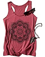 Women Mandala Tank Tops Funny Graphic Camis Loose Flowers Yoga Workout Muscle Tees(Red, XL)