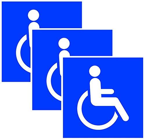 Print&Bind Center 3X Aufkleber Schild Rollstuhl Rollstuhlfahrer Behinderten Hinweis Warnaufkleber