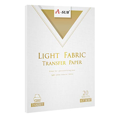 A-SUB Iron-On Light T-Shirt Heat Transfer Paper 8.5x11 Inches Compatible with All Inkjet Printer 20 Sheets