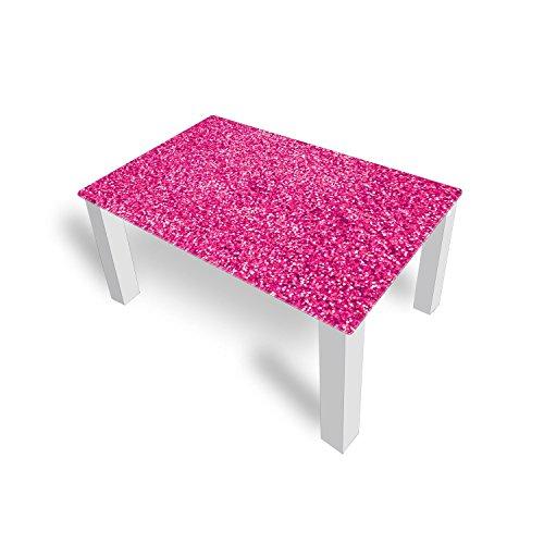 DekoGlas Couchtisch 'Brokat Pink' Glastisch Beistelltisch für Wohnzimmer, Motiv Kaffee-Tisch 90x55 cm in Schwarz oder Weiß