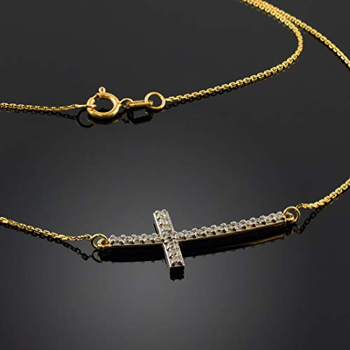 14 ct Gold Sideways Diamond Curved Cross Pendant Necklace Necklace (Available Chain Length 16'- 18'- 20'- 22') C