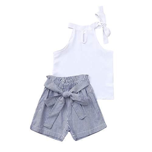 Zylione MäDchen Kleidung Set Kinder Baby äRmelloses Einfarbiges Hemd + Gestreifte Schleife Shorts 2 SäTze