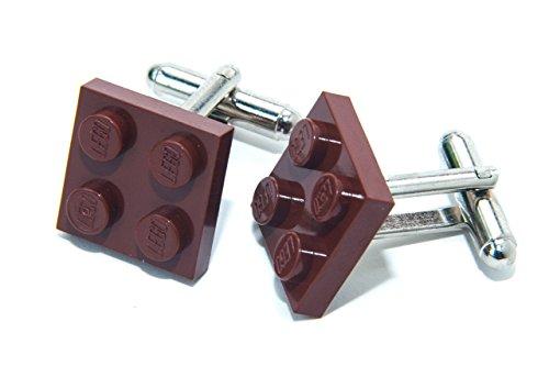 Marron véritable plaque de Lego Boutons de manchette – Funky rétro Cool Boutons de manchette fabriqué par Jeff Jeffers