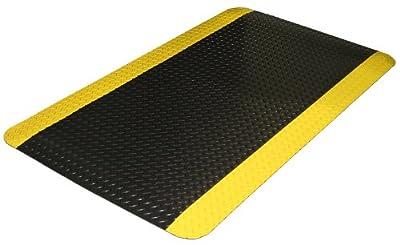 Durable Vinyl Diamond-Dek Sponge Industrial Anti-Fatigue Floor Mat, 2' x 3', Black with Yellow Border