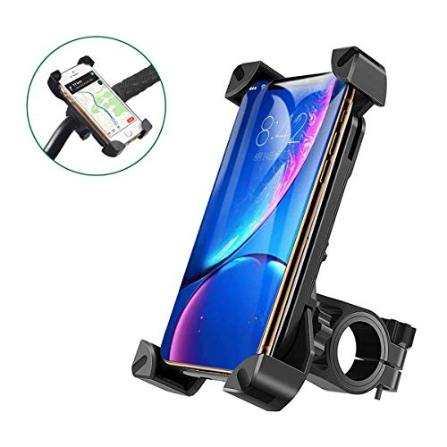 Bike Phone Holder Mount Universal Handlebar Bicycle Motorcycle Phone Mount for Motorbike, Mountain Bike,Anti-Shake, 360°Rotatable,Suit for iPhone, Samsung and Other 4' to 7' Smartphones GPS Devices