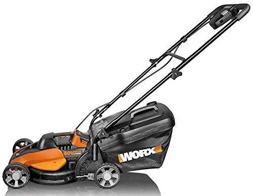 Worx WG776E.9 40V Rasenmäher 33 cm Schnittbreite, bis 350 m², konstante Mähleistung, extrem leise, ohne Akku, Ladegerät und Zubehör, 80 W, 40 V, Schwarz/Orange