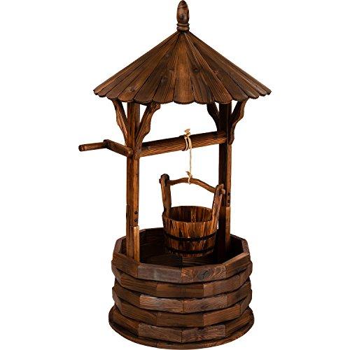 Maxstore Holzbrunnen mit Dach braun Dekobrunnen aus Holz Höhe 120cm Durchmesser 65cm Gartenbrunnen geölt und brandbehandelt