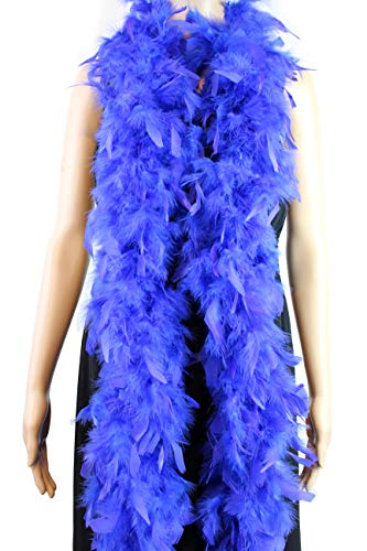 60 Gram, 2 Yards Long Chandelle Feather Boa 16 Colors, Great for Party, Wedding, Halloween Costume, Christmas Tree, Decoration (Royal Blue)