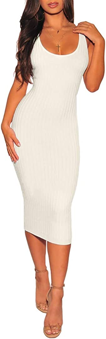 Women's Sexy Spaghetti Strap Sleeveless Casual Summer Bodycon Backless Midi Club Party Night Dresses