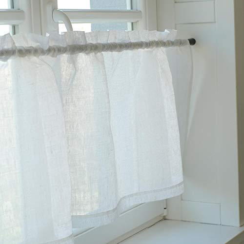 Varvara Home Leinen Scheibengardine - Bistrogardine aus Leinen - Küchegardine - Kurze Gardine für Küche (Weiß, 145 (B) x 45 (H) cm)
