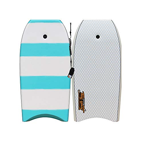 """South Bay Board Co. Onda 42"""" Bodyboard for Beginners in Blue with Coiled Leash & Wrist Strap - Durable, Lightweight EPS Core with Smooth Top Deck & Slick HDPE Bottom Deck"""