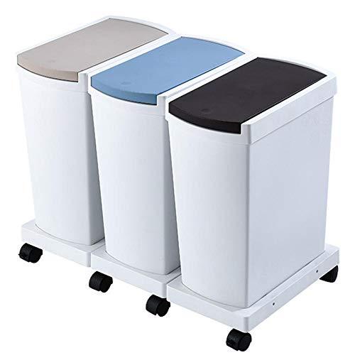 Mimosapud 45L Contenedores para Reciclaje de El Plastico 3 Use Family Papeleras Recycle de 15L Cubo de Reciclaje Vertical Tapa con Bisagras