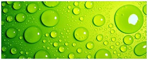 Wallario Acrylglasbild Wassertropfen auf Grün - 50 x 125 cm in Premium-Qualität: Brillante Farben, freischwebende Optik