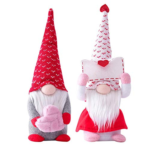 2 PCS Valentines Day Gnome Plush - Mr and Mrs Scandinavian Tomte Elf Decorations - Stuffed Plushie Ornaments - Swedish Tomte Dwarf Figurines Table Gnomes Decor Gifts Presents