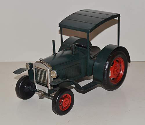 JS GartenDeko Blechtraktor Nostalgie Modellauto Oldtimer Marke Hanomag Traktor Modell R40 aus Blech L 28 cm
