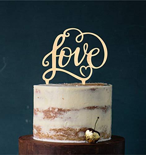 Manschin-Laserdesign Cake Topper, Tortenstecker, Tortefigur Acryl, Tortenständer - Farbwahl - Etagere Hochzeit Hochzeitstorte Love (Holz)