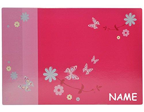 alles-meine.de GmbH Schreibtischunterlage Blumen pink - mit Namen - 60 cm * 40 cm - PVC Unterlage / Knetunterlage / Schreibunterlage / Tischunterlage Blume rosa geblümt Schmetter..
