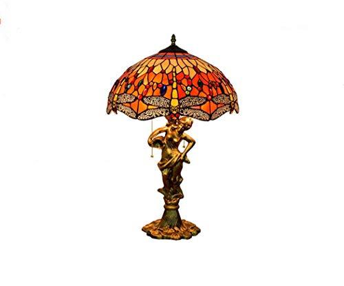 Tischlampe, Tiffany Farbe Glastisch Lampe, rote Libelle Lampenschirm + schöne Frau Basis, handgemacht kreativ, 16 Zoll
