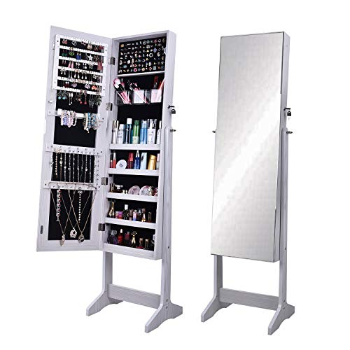 sogesfurniture Schmuckschrank Spiegelschrank abschließbar, 156x41x36.5cm Standspiegel Schmuckregal Schmuckkasten Spiegel Aufbewahrungsbox Organizer, BHEU-QH-6150
