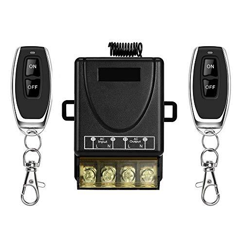 YLX afstandsbediening schakelaar, AC 220V-230V-240V-250V krachtige wirless-RF-schakelaar voor huishoudelijke apparaten, pompen, lampen, plafondventilatoren en elektrische apparaten (1 + 2)