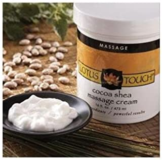 Cocoa Shea Butter Massage Cream by Lotus Touch - 100% Pure African Shea Butter & Natural Cocoa Butter - Glide of Massage Oil, Absorption of Lotion - Perfect for Very Dry, Sensitive Skin - 14.6 Ounces