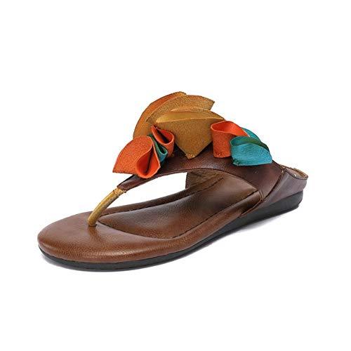 NOLOGO Sandalias De Dedo Mujer,Playa Zapatos De Verano,Chanclas De Planas Plataforma Ocasional de Moda Zapatillas Abrir-Punt (Color : Coffee, Size : 39)
