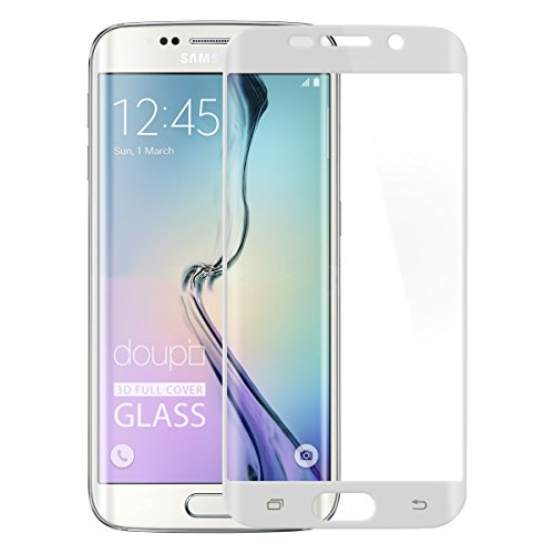doupi FullCover Panzerfolie für Samsung Galaxy S6 Edge, Preimium 9H Hartglas HD Bildschirmschutz Anti Kratzer Glas Schutzfolie, weiß