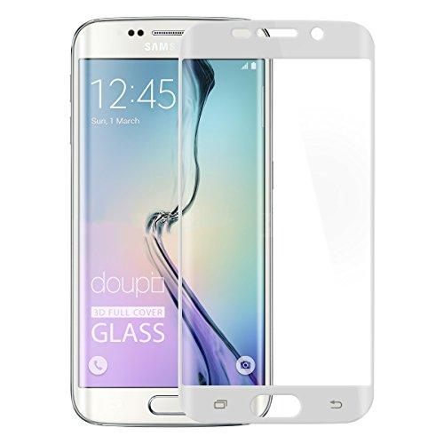 doupi FullCover Panzerfolie für Samsung Galaxy S6 Edge, Preimium 9H Hartglas HD Displayschutz Anti Kratzer Glas Schutzfolie, weiß