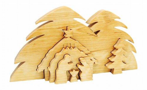 """3D-Krippe """"Bethlehem"""" aus geöltem Massivholz, besteht aus sechs Elementen, ein Krippenspiel der besonderen Art und dekorativer Blickfang zur Weihnachtszeit"""