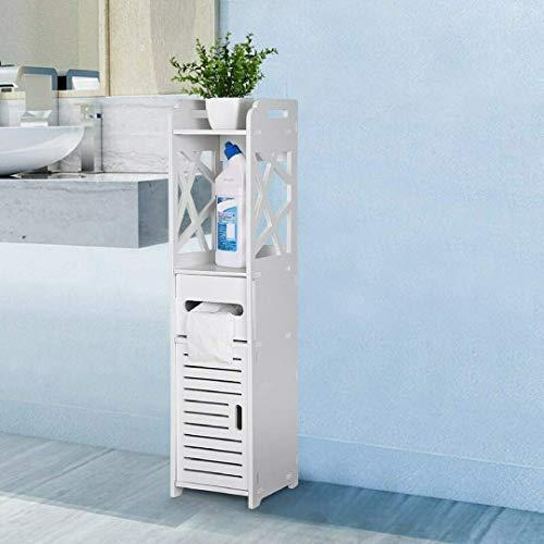 lyrlody Badezimmerschrank Hochschrank Badmöbel Schrank Midi-Schrank Badkommode Toilettenpapierhalter mit 1 geöffneten Schrank, 1 tür Schrank und papierfach für Badezimmer, 80 * 15,5 * 15,5cm