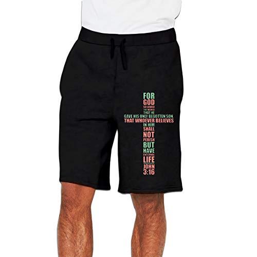 Jesus Cross Christian Religion Men's Casual Shorts Elastic Jogger Gym Sport Shorts Black