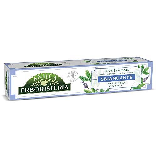 Antica Erboristeria, Dentifricio Sbiancante Antimacchia con Ingredienti Naturali, Gusto Salvia e Bicarbonato, 1 x 75 ml