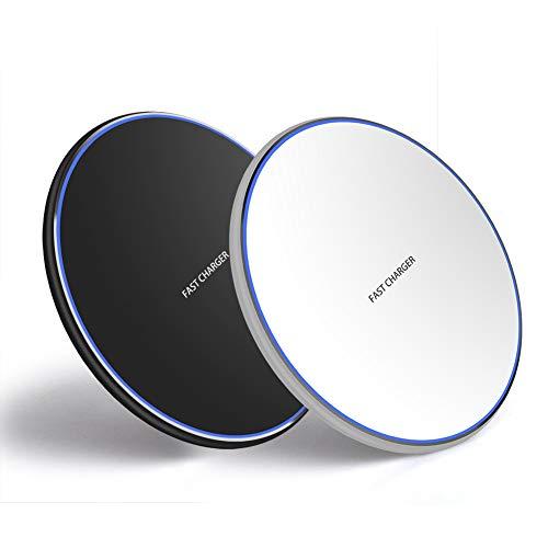 2 stuks Fast Wireless Charger laden Qi draadloos YXY-Tech laadapparaat laadstation draadloze 10W oplader, Qi-gecertificeerd, compatibel met iPhone 11/11 Pro, 10W snelladen, Samsung Galaxy S10/S9