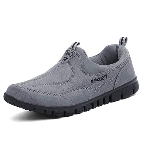 Orlancy Men's Women's Loafers Suede Leather Flat Slip On Outdoor Casual Sports Sneakers Elderly Walking Shoes Grey3 40EU/Women 8.5US