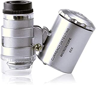 60X Mini Microscope Magnifier LED Loupe Light Currency, Size: 4x3.8x1.8cm