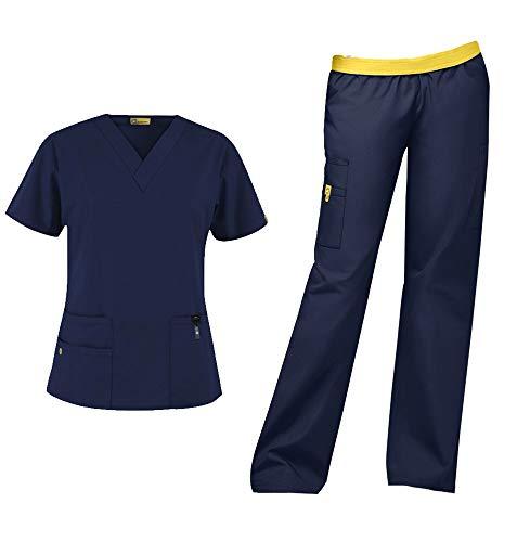 WonderWink Origins Women's Medical Uniforms Scrubs Set Bundle- 6016 Bravo V-Neck Scrub Top & 5016 Quebec Elastic Cargo Scrub Pants & MS Badge Reel (Navy - Large - Large)