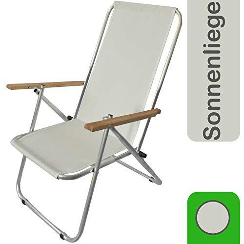 decorwelt Sonnenliege Gartenstuhl Verstellbar Klappsessel Hochlehner Creme Relaxliege Alu