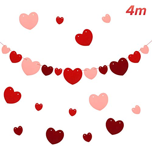Matogle Guirnalda de Corazones Rojas para el Día de San Valentín Banner de Corazón para Boda Adornos Colgantes para Cumpleaños Aniversario y Fiesta 40 Corazón de Fieltro y Cuerda Roja de 4m largo