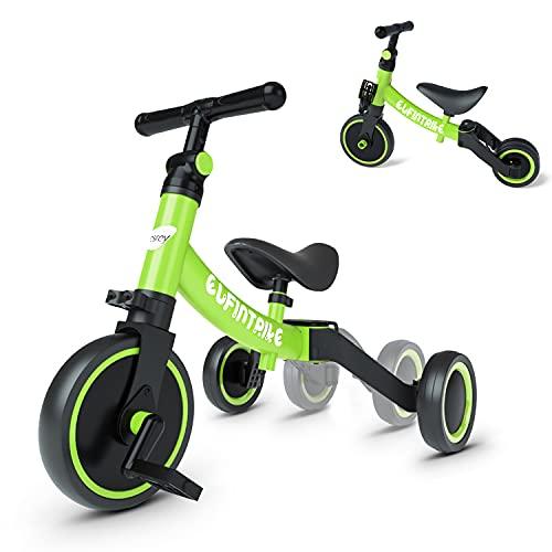 besrey Triciclos para Niños, 5 en 1 Una Bici Multifunción, Adecuado para niños de 1-4 años,Triciclo,Bicicleta,Carro de Equilibrio,Caminante, Altura del Asiento Regulable, Verde