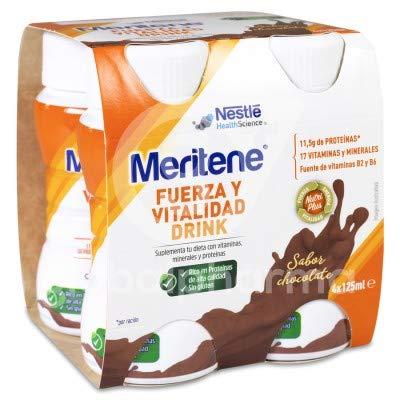 Meritene FUERZA Y VITALIDAD - Suplementa tu nutrición y refuerza tu sistema inmune con vitaminas, minerales y proteínas - Bebida de Chocolate - Botella 4 x 125ml