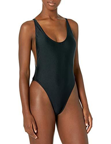American Apparel Women's Standard Nylon Tricot High-Cut Sleeveless One-Piece, Black, Medium