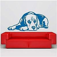 Calcomanía para perros Beagle Recumbent 3D Vinilo Etiqueta de la pared Decoración para el hogar Sala de estar Arte de la pared Mural Pet Sticker80X40CM