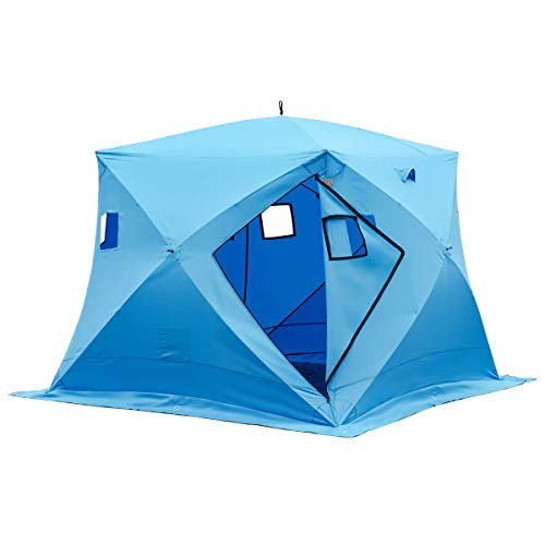 Happybuy 4 Person Ice Fishing Shelter, Pop-Up Portable Insulated Ice Fishing Tent, Waterproof Oxford...