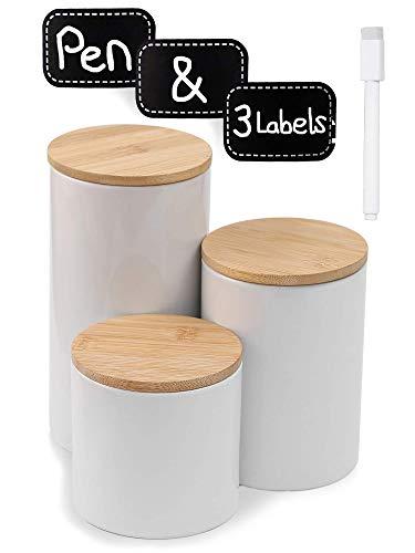 Praknu Vorratsdosen Keramik 3er Set Weiß - Luftdicht mit Deckel - Spülmaschinenfest - inkl. Etiketten und Stift