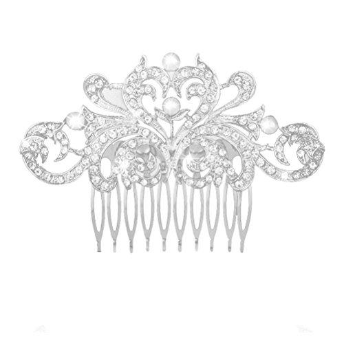 Pixnor Mariage cheveux peigne mariée strass perle cheveux Clip cheveux broche cheveux accessoires (argent)