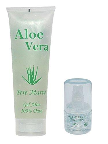 Pere Marve - Juego de viaje 100 % hidratante con gel de aloe vera en tubo de 250 ml + dosificador con relleno de 30 ml para equipaje de mano