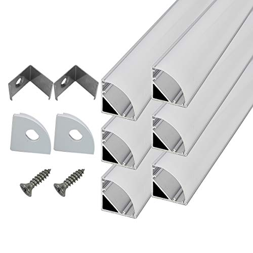 HAMRVL 6-Pack 1ft 16x16mm Led Aluminum Channel System with Cover V Shape, Led Strip Light Diffuser Track with White End Caps and Mounting Clips Accessories,Aluminum Profile for Led Strip Lights